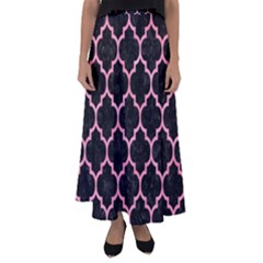 Tile1 Black Marble & Pink Watercolor (r) Flared Maxi Skirt