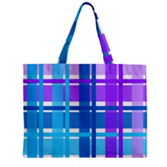Gingham Pattern Blue Purple Shades Zipper Mini Tote Bag by Onesevenart