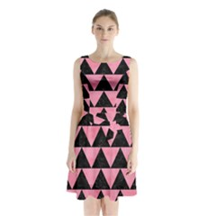 Triangle2 Black Marble & Pink Watercolor Sleeveless Waist Tie Chiffon Dress