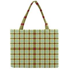 Geometric Tartan Pattern Square Mini Tote Bag by Onesevenart