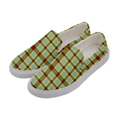 Geometric Tartan Pattern Square Women s Canvas Slip Ons by Onesevenart