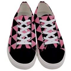 Triangle3 Black Marble & Pink Watercolor Women s Low Top Canvas Sneakers
