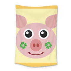 Luck Lucky Pig Pig Lucky Charm Small Tapestry by Onesevenart
