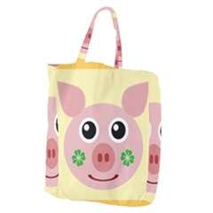Luck Lucky Pig Pig Lucky Charm Giant Grocery Zipper Tote by Onesevenart