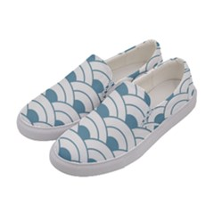 Art Deco Teal White Women s Canvas Slip Ons by 8fugoso