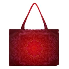 Mandala Ornament Floral Pattern Medium Tote Bag by Onesevenart