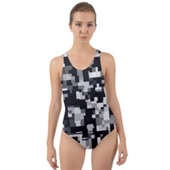 Noise Texture Graphics Generated Cut Out Back One Piece Swimsuit by Onesevenart