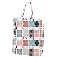 Mint Black Coral Heart Paisley Giant Grocery Zipper Tote by Onesevenart