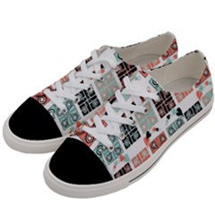 Mint Black Coral Heart Paisley Women s Low Top Canvas Sneakers by Onesevenart