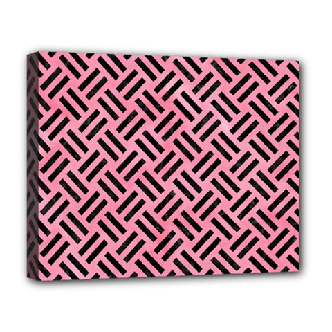Woven2 Black Marble & Pink Watercolor Deluxe Canvas 20  X 16   by trendistuff