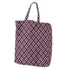 Woven2 Black Marble & Pink Watercolor (r) Giant Grocery Zipper Tote