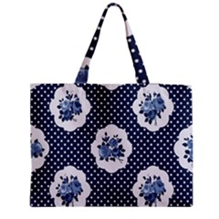 Shabby Chic Navy Blue Zipper Medium Tote Bag by 8fugoso