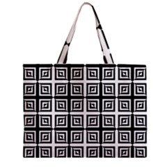 Seamless Pattern Background Black And White Zipper Mini Tote Bag by Onesevenart