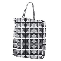 Seamless Pattern Background Black And White Giant Grocery Zipper Tote by Onesevenart