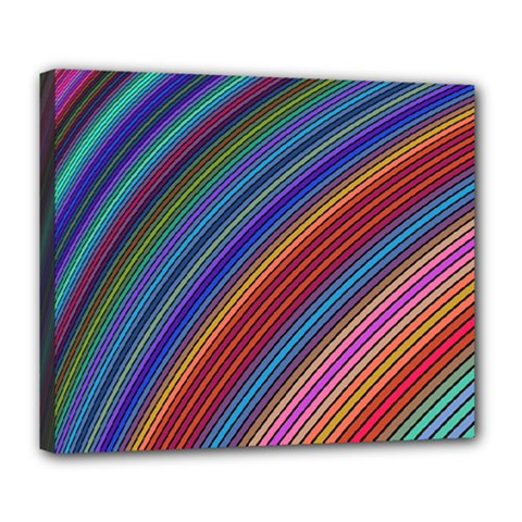 Multicolored Stripe Curve Striped Deluxe Canvas 24  X 20   by Onesevenart
