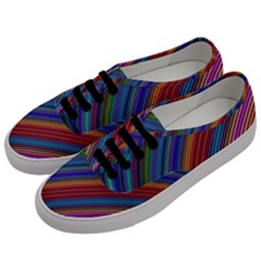 Multicolored Stripe Curve Striped Men s Classic Low Top Sneakers by Onesevenart