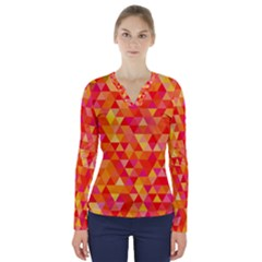 Triangle Tile Mosaic Pattern V Neck Long Sleeve Top