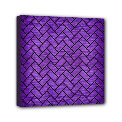 Brick2 Black Marble & Purple Brushed Metal Mini Canvas 6  X 6  by trendistuff
