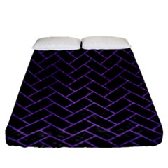 Brick2 Black Marble & Purple Brushed Metal (r) Fitted Sheet (queen Size) by trendistuff