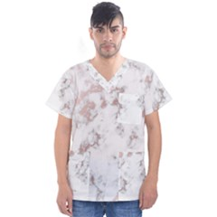 Pure And Beautiful White Marple And Rose Gold, Beautiful ,white Marple, Rose Gold,elegnat,chic,modern,decorative, Men s V Neck Scrub Top by 8fugoso