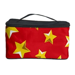 Yellow Stars Red Background Pattern Cosmetic Storage Case by Onesevenart