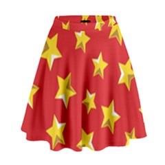 Yellow Stars Red Background Pattern High Waist Skirt by Onesevenart
