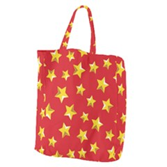Yellow Stars Red Background Pattern Giant Grocery Zipper Tote by Onesevenart