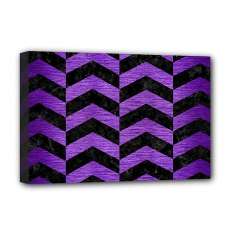 Chevron2 Black Marble & Purple Brushed Metal Deluxe Canvas 18  X 12   by trendistuff