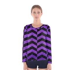 Chevron2 Black Marble & Purple Brushed Metal Women s Long Sleeve Tee by trendistuff