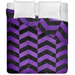 Chevron2 Black Marble & Purple Brushed Metal Duvet Cover Double Side (california King Size) by trendistuff