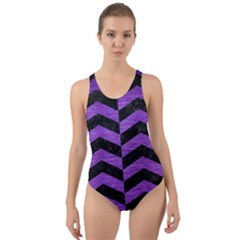 Chevron2 Black Marble & Purple Brushed Metal Cut Out Back One Piece Swimsuit