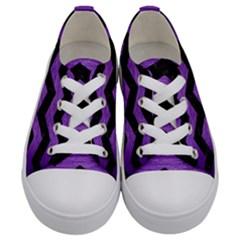 Chevron3 Black Marble & Purple Brushed Metal Kids  Low Top Canvas Sneakers