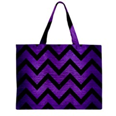Chevron9 Black Marble & Purple Brushed Metal Zipper Mini Tote Bag by trendistuff