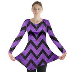 Chevron9 Black Marble & Purple Brushed Metal Long Sleeve Tunic  by trendistuff