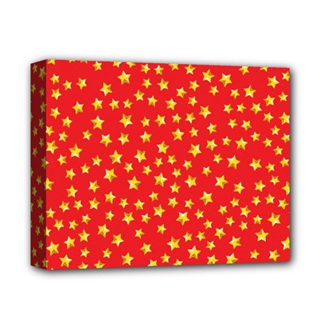 Yellow Stars Red Background Deluxe Canvas 14  X 11  by Onesevenart