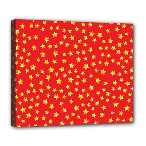 Yellow Stars Red Background Deluxe Canvas 24  X 20   by Onesevenart