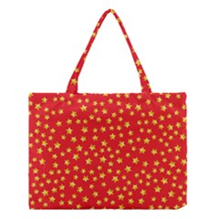 Yellow Stars Red Background Medium Tote Bag by Onesevenart