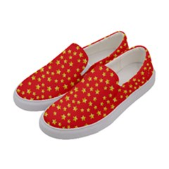 Yellow Stars Red Background Women s Canvas Slip Ons by Onesevenart