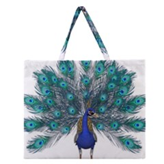 Peacock Bird Peacock Feathers Zipper Large Tote Bag by Onesevenart