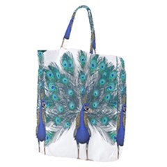 Peacock Bird Peacock Feathers Giant Grocery Zipper Tote by Onesevenart