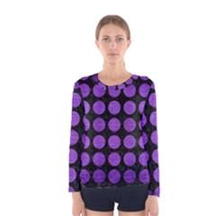Circles1 Black Marble & Purple Brushed Metal (r) Women s Long Sleeve Tee by trendistuff