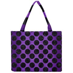 Circles2 Black Marble & Purple Brushed Metal Mini Tote Bag by trendistuff