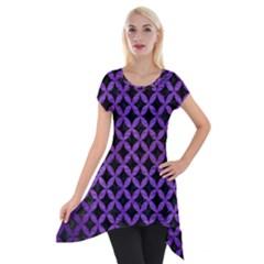 Circles3 Black Marble & Purple Brushed Metal (r) Short Sleeve Side Drop Tunic by trendistuff