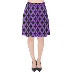 Circles3 Black Marble & Purple Brushed Metal (r) Velvet High Waist Skirt