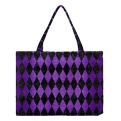 Diamond1 Black Marble & Purple Brushed Metal Medium Tote Bag by trendistuff