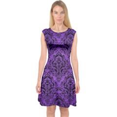 Damask1 Black Marble & Purple Brushed Metal Capsleeve Midi Dress