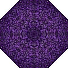 Damask2 Black Marble & Purple Brushed Metal Hook Handle Umbrellas (large) by trendistuff