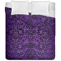 Damask2 Black Marble & Purple Brushed Metal Duvet Cover Double Side (california King Size) by trendistuff