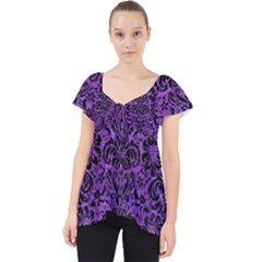 Damask2 Black Marble & Purple Brushed Metal Lace Front Dolly Top