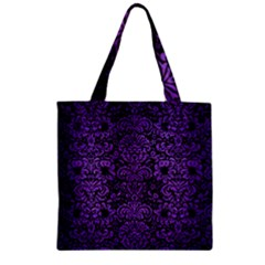 Damask2 Black Marble & Purple Brushed Metal (r) Zipper Grocery Tote Bag by trendistuff